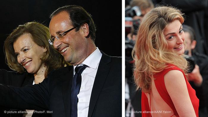 Francois Hollande em 2012 com Valerie Trierweiler (esquerda) e a atriz Julie Gayet (direita)