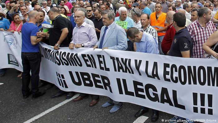 Spanische Taxifahrer gegen Uber