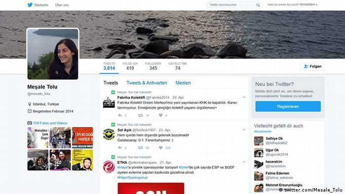Screenshot Twitteraccount der Journalistin Mesale Tolu