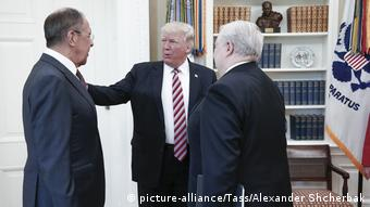 Russian Foreign Minister Lavrov (L) and Ambassador Kislyak (R) met with President Trump in the White House in May