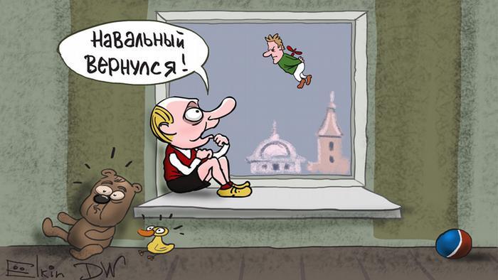 DW Karikatur Elkin- Navalnys Ausreise