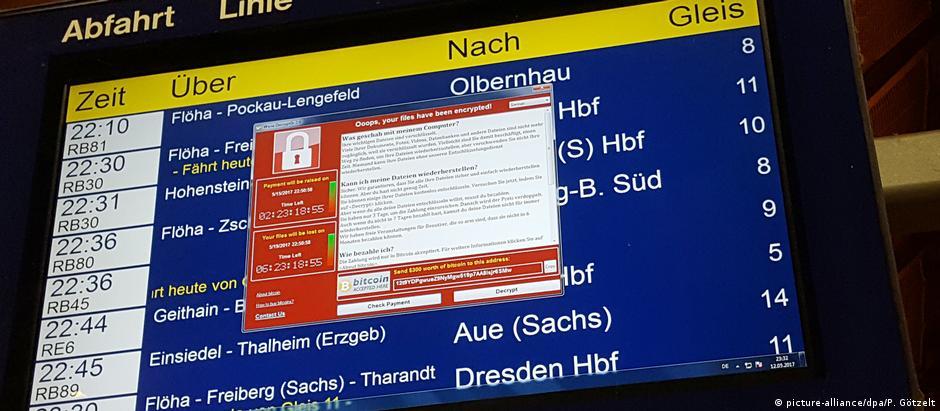 Vírus WannaCry aparece em tela com horários de trens da empresa alemã Deutsche Bahn, em Chemnitz