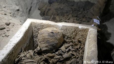 Uma das múmias descobertas no Egito
