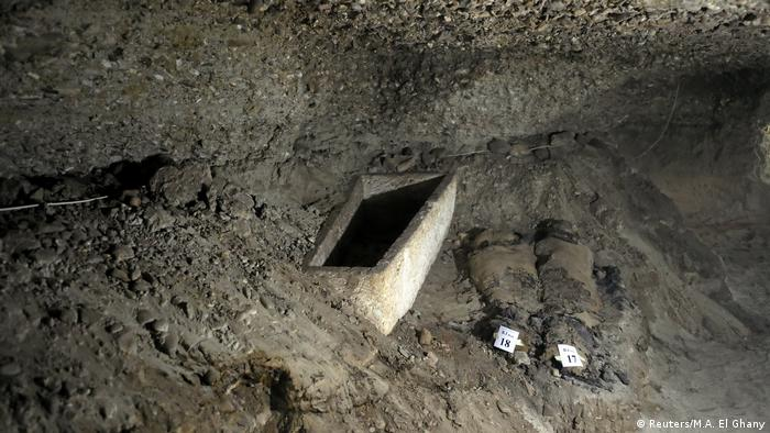 A number of mummies are seen inside the newly discovered burial site in Minya (Reuters/M.A. El Ghany)