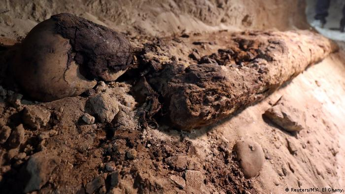 A mummy is seen inside the newly discovered burial site in Minya (Reuters/M.A. El Ghany)