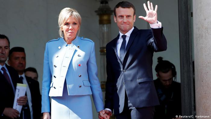 French President Emmanuel Macron and his wife Brigitte Trogneux