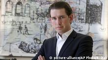 FILE - In this March 17, 2017 file photo, Austrian Foreign Minister Sebastian Kurz of the Austrian People's Party poses for a photo during an interview with The Associated Press in Vienna. Austria's chancellor Christian Kern says Sunday, May 14, 2017 he expects an early election this fall as his coalition partner mulls its future leadership. Austria is governed by an often bad-tempered alliance of Chancellor Christian Kern's center-left Social Democrats and the center-right Austrian People's Party. (AP Photo/Ronald Zak,file)  