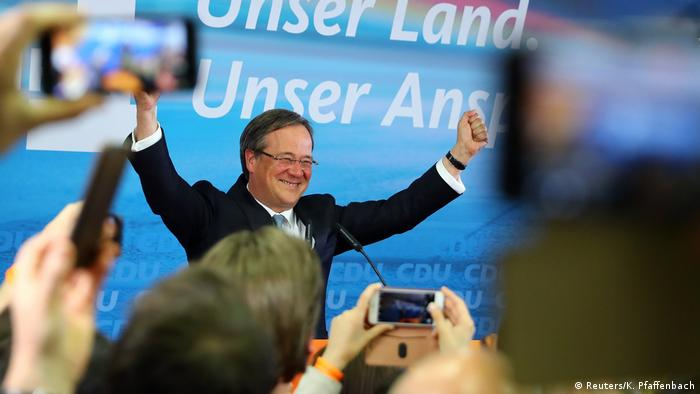 Armin Laschet, top candidate of the Christian Democratic Union (CDU) reacts on first exit polls after the regional state elections of North Rhine-Westphalia, in Düsseldorf (Reuters/K. Pfaffenbach)