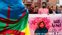 Protesters hold the Amazigh (Berber) flag and pictures of Idya Fakhreddine as they shout slogans in Rabat, on april 16, 2017, following the death this two-year-old little girl who died due to poor health conditions and the absence of basic health-care in the Moroccan city of Tinghir. / AFP PHOTO / FADEL SENNA (Photo credit should read FADEL SENNA/AFP/Getty Images)