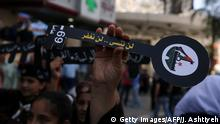 Palestinian scouts hold keys during a rally marking the 69th anniversary Nakba on May 15, 2017, in the northern West Bank city of Nablus. Palestinians mark the anniversary on May 15, when they commemorate the Nakba, or catastrophe of the creation of Israel, which sparked the exodus of hundreds of thousands of Palestinians. / AFP PHOTO / JAAFAR ASHTIYEH (Photo credit should read JAAFAR ASHTIYEH/AFP/Getty Images)