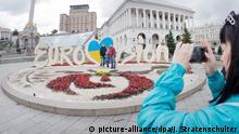 Ukraine Kiew - Eurovision Song Contest 2017 Logo mit Blumenbeet