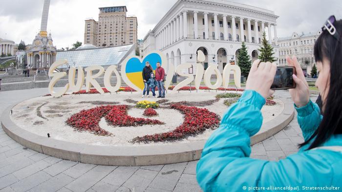Символика Евровидения на Майдане во время проведения конкурса в Киеве в мае 2017 года