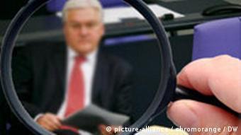 Foreign Minister Steinmeier seen through a magnifying glass