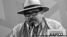 This file photo taken on November 27, 2016 shows Mexican journalist Javier Valdez speaking during the presentation of his book Huerfanos del Narco in the framework of the International Book Fair in Guadalajara, Mexico. A local journalist in Mexico's troubled Sinaloa state who worked for Agence France-Presse was shot dead in the street on may 15, 2017, a judicial source told AFP. / AFP PHOTO / HECTOR GUERRERO (Photo credit should read HECTOR GUERRERO/AFP/Getty Images)