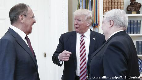 US President Donald Trump speaks to Russian Foreign Minister Sergey Lavrov and Russia's ambassador to the US Sergey Kislyak