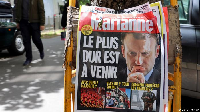 Paris Wochenblatt Marianne Macron Cover