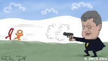 DW-Karikatur von Sergey Elkin - Social-Media & Suchmaschinen-Verbot in der Ukraine