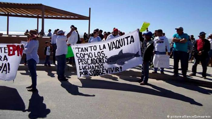 Fishermen protest in the town of San Felipe