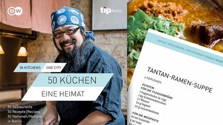 Der Koch Yosuke Sumida in seinem Restaurant Cocolo Ramen, daneben ein Bild des Gerichts Tantan-Ramen-Suppe mit einem Ausriss aus dem Rezept (Foto: DW/Holger Talinski)