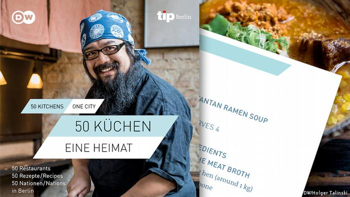 Chef Yosuke Sumida in his Cocolo Ramen restaurant, the recipe for tantan ramen soup, and a picture of the dish (Photo: DW/Holger Talinski)