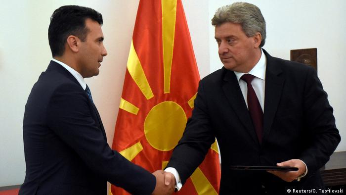 Macedonia President Gjorge Ivanov hands the mandate to govern to Zoran Zaev