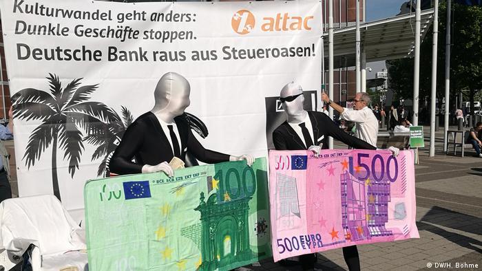 Protest outside Deutsche Bank headquarters