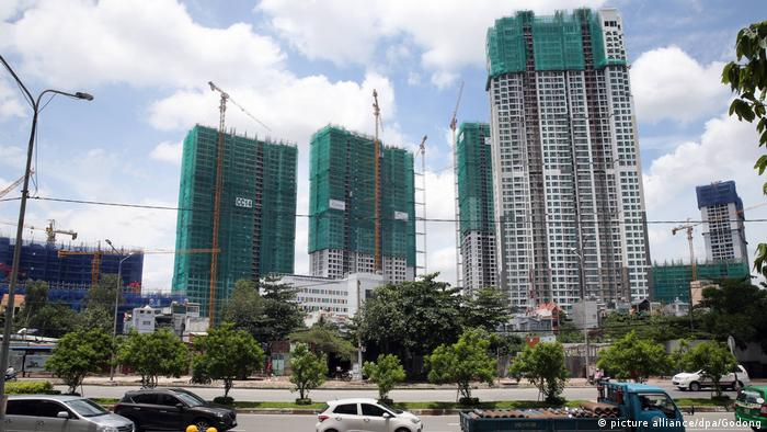 The construction site in Saigon South, a mixed residential and commercial...