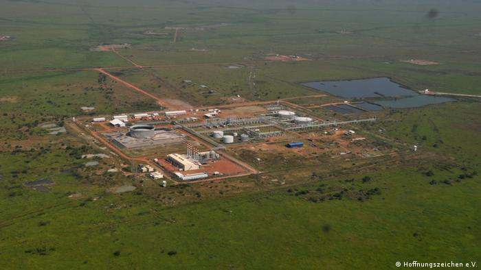 An aerial photo of the Thar Jath oil field in South Sudan