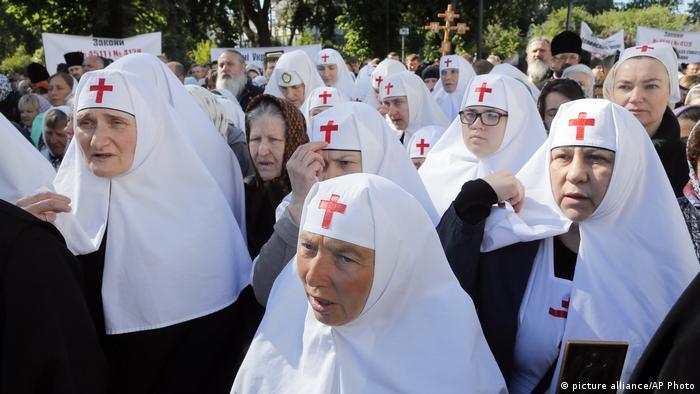 Orthodox nuns protesting