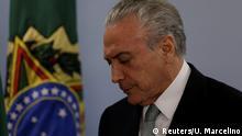 Brazil's President Michel Temer reacts as he speaks at the Planalto Palace in Brasilia, Brazil, May 18, 2017. REUTERS/Ueslei Marcelino