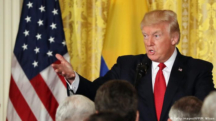 USA Washington Pressekonferenz Trump und Präsident Santos (Getty Images/AFP/M. Wilson)
