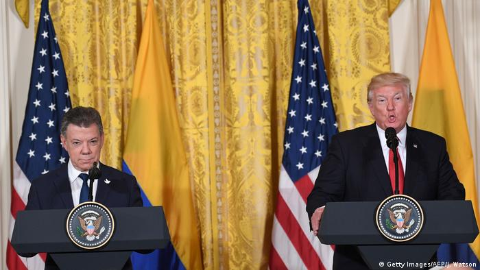 USA Washington Pressekonferenz Trump und Präsident Santos (Getty Images/AFP/J. Watson)