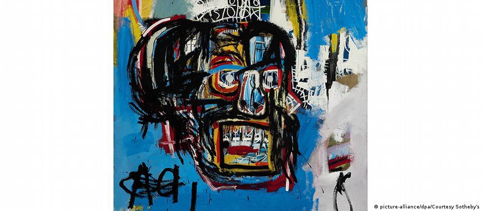 Obra de 1982, sem nome, é uma tipografia com elementos de graffiti e mostra uma caveira estilizada