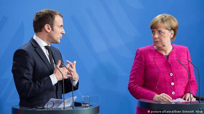 Emmanuel Macron und Angela Merkel in Berlin