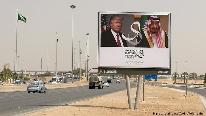 Saudi Arabien Riad Plakate Besuch US Präsident Trump (picture-alliance/AA/E. Abdelrehim )