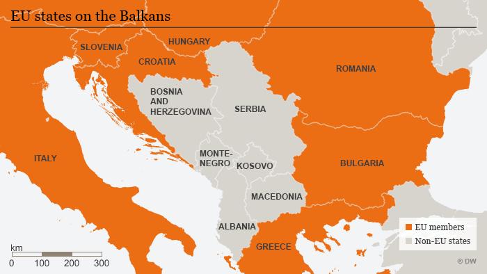 Karte Balkan EU-Länder Nicht-EU-Länder ENG