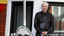 Julian Assange on the balcony of the Embassy of Ecuador in London (Reuters/N. Hall)