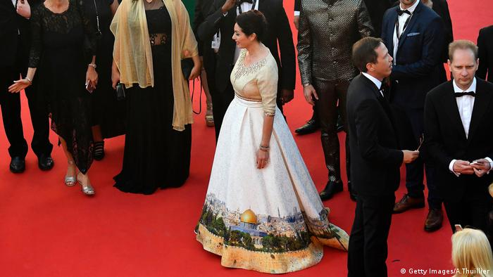 Miri Regev in Cannes wearing the Jerusalem dress (Getty Images/AFP/A.Thuillier)