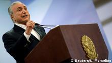 Brazil's President Michel Temer speaks at Planalto Palace in Brasilia, Brazil, May 20, 2017. REUTERS/Ueslei Marcelino