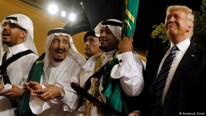 Saudi King Salman bin Abdulaziz al-Saud welcomes US President Donald Trump to the kingdom