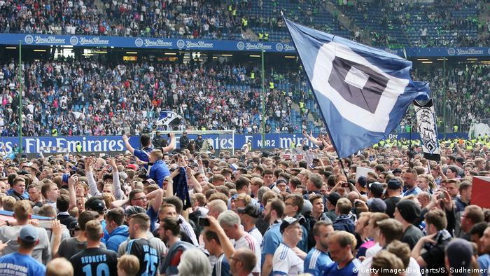 Hamburg fans celebrating at the Volksparkstadion in May 2017