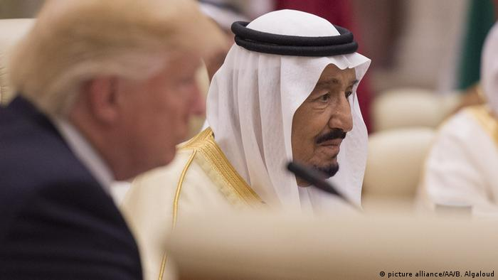 Saudi King Salman bin Abdulaziz al-Saud speaks during a meeting with US President Donald Trump