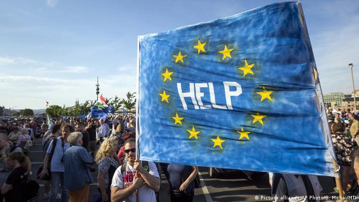 Ungarn Protest Banner