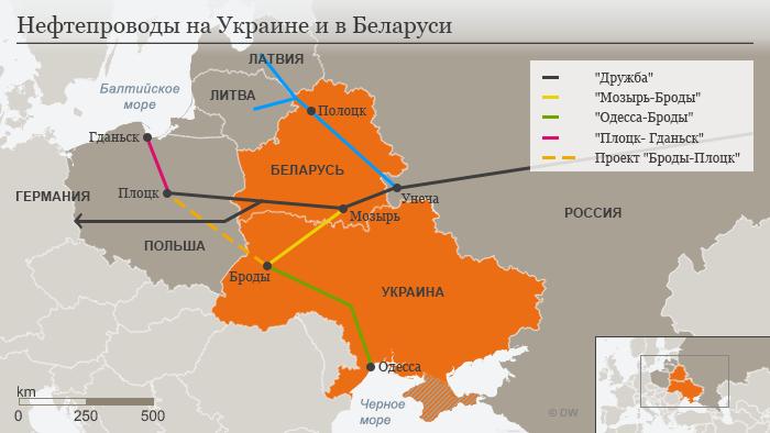 Инфографика нефтепроводов, проходящих по территориям России, БЕларуси и Украины