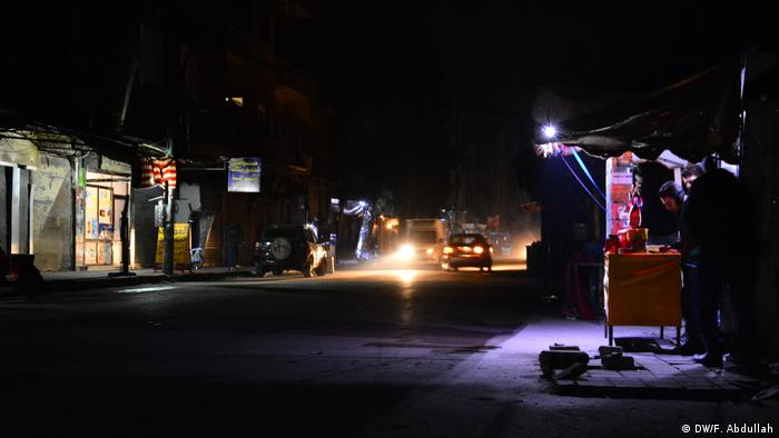 At night Douma is plunged into darkness. There has been little to no electricity since the siege began. Locals ration the use of their generators for their shops and homes.