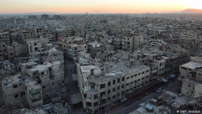 The besieged rebel-held city of Douma in Syria is located in the east, around 10 kilometers (6 miles) outside the capital Damascus.