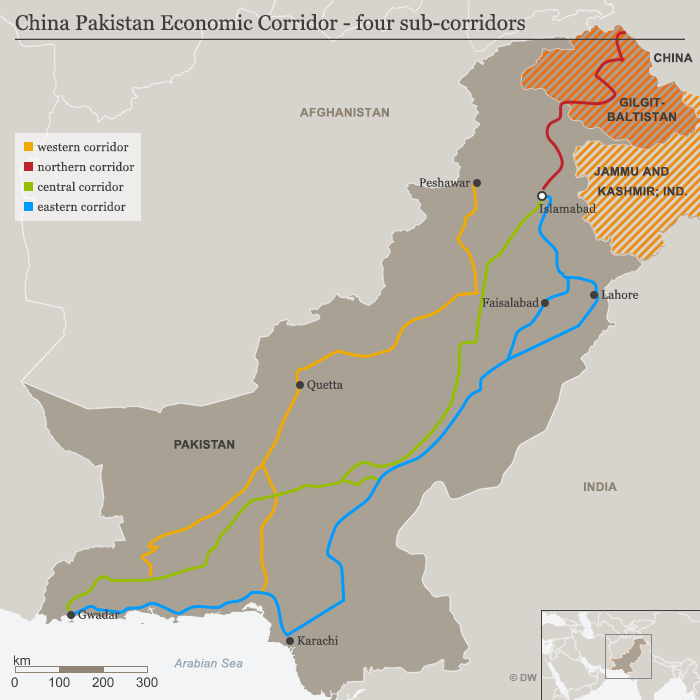 China-Pakistan Economic Corridor: map showing four sub-corridors