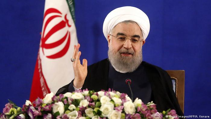 Iranian President Hassan Rouhani speaks during a press conference in Tehran