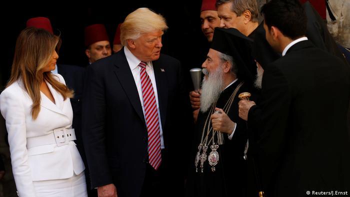 Donald Trump und MelaniaTheophilos III Jerusalem (Reuters/J.Ernst)
