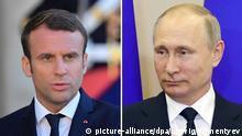 Emmanuel Macron und Wladimir Putin Bildkombo Kombi-Bild